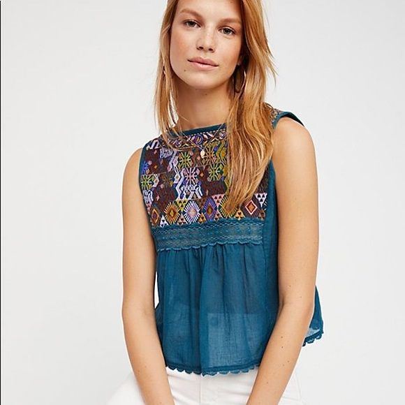 Free People Tops - ⚡️Free People embroidered neckline tank⚡️